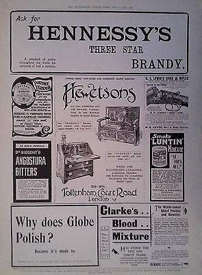 1903 Advert Dr Siegert's Angostura Bitters-Luntin Mixture-Hennessy's Brandy