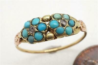ANTIQUE ENGLISH REGENCY PERIOD 2 COLOR GOLD TURQUOISE DIAMOND RING c1820