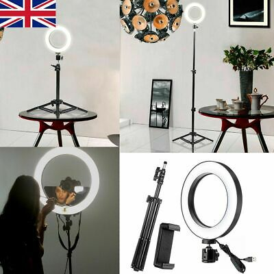"""10"""" LED Ring Light with Stand Dimmable Lighting Kit For Makeup Youtube Live UK"""