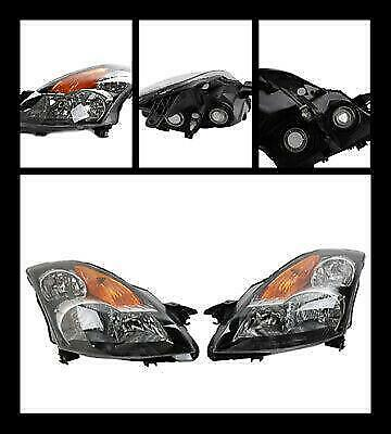 Headlights Headlamps 2PCS For 2007-2009  Nissan Altima 4Dr CHROME HOUSING CLEAR
