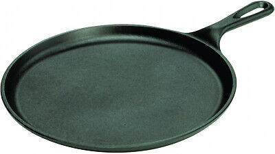 Black Cast Iron Round Griddle 10.5 in.Pan Pizza Home Cooking Outdoor Camping