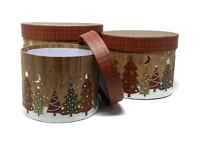 Christmas Tartan Tree Lined Hat Boxes - Set of 3 - Flower Gift Festive Display