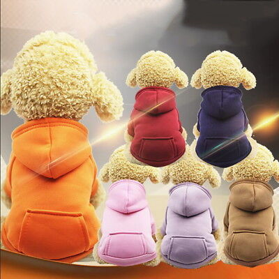 Pet Dog Warm Sweaters with Pocket Hoodie Costume Jumper Small Puppy Cat Coat UK