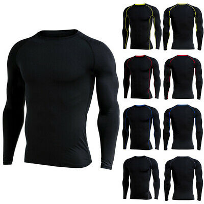 Mens Compression Under Skin Base Layer Tight Tops Sports T-Shirts Athletic