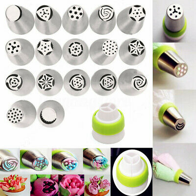 17Pcs Russian Tulip Flower Icing Piping Nozzle Tips Cake Decoration Tool Coupler