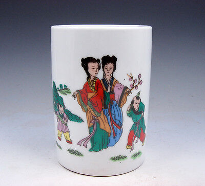 Glazed Porcelain Ancient Figurines Chinese Poem Painted Brush Pot #08281705