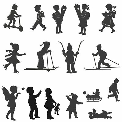 Boy Girl Giving Flowers Ski Child Winter Metal Cutting Dies For DIY Scrapbooking