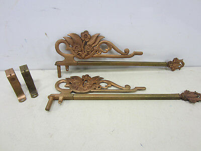 2 Antique Swing Out Cast Iron Sliding Curtain Rods-Floral Design #4