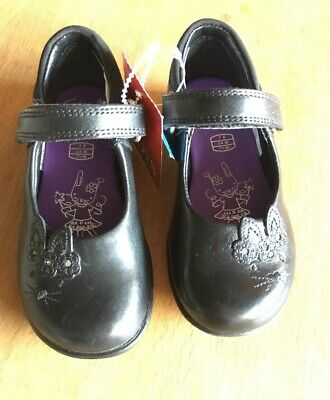 Gorgeous Clarks Girls 7F Black Leather Bunny Binkies LIGHT UP School Shoes