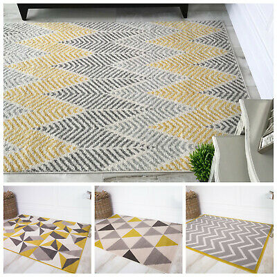 Yellow Mustard Geometric Living Room Rugs Soft Quality Small Large Grey Area Rug