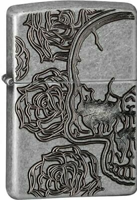 Zippo 28988, Armor, Skull and Roses, Antique Silver Plate Lighter