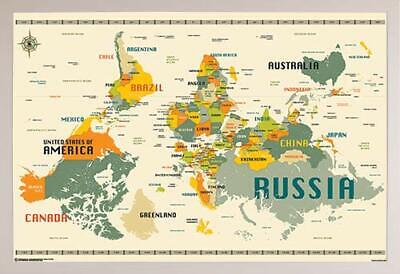 World Map Upside Down Poster in a Black Wood Frame (24x36) 24618-PSA011350