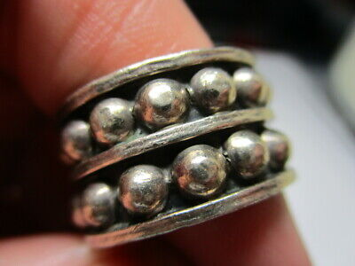 Sterling Silver 925 Estate Vintage Beads Double Gothic Ball Band Ring Size 6.5
