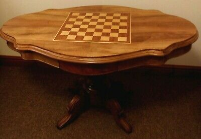 Games Table Victorian Style 2 Frieze Drawers Swivel Round Top Multi Wood gtvs