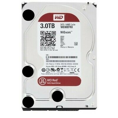 """WD Red WD30EFRX 3TB 3.5"""" NAS Hard Disk Drive 5400RPM Class SATA 6Gb/s 64MB Cache"""