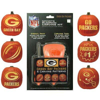 Green Bay Packers Football Team NFL Halloween Pumpkin Carving Kit w/ 6 Stencils