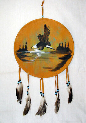 """12"""" Painted Leather Shield Authentic Native American Art Bald Eagle #03"""