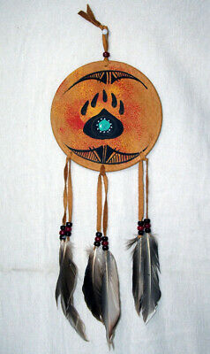 "6"" Painted Leather Shield Authentic Native American Art Native Bear Paw #08"