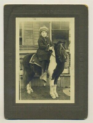 Antique Sepia Cabinet Photo Adorable Winter Girl Riding on Pony Horse