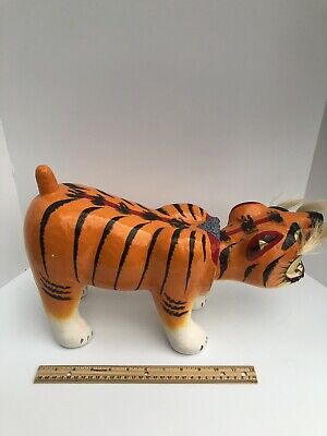 Vintage Paper Mache Tiger Asian Art Piece Painted With Whiskers Bobble Head