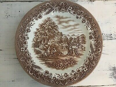 Churchill Currier And Ives 4 Dinner Plates Harvest