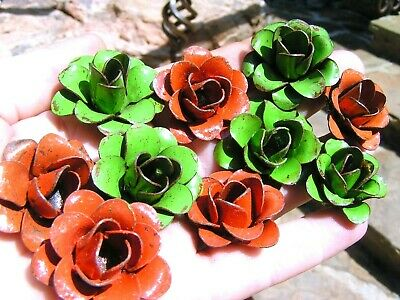 TEN metal flowers for embellishments and accents, iron art roses