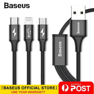 Baseus 3in1 USB Cable Lightning / Type C / Micro USB Charging Data Sync Cord
