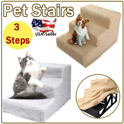 Pet Stairs 3 Steps Cat Dog Ladder Portable Indoor Small Climb Ramp Fleece Cover