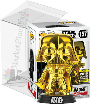 Funko POP! Star Wars - 2019 GCE - #157 Gold Chrome Darth Vader - W/Protector