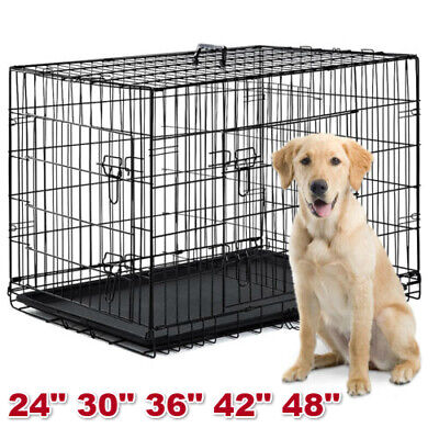 "48""/42""/36""/30""/24"" Pet Cat Dog Folding Kennel Crate Wire Metal Cage W/Tray"