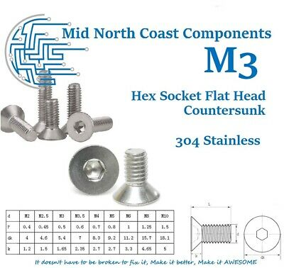 M3 x 4-30mm Flat Hex Head Countersunk 304 Stainless Steel Machine Screws