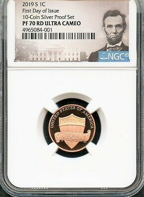 2019 S Lincoln Cent FIRST DAY ISSUE 10-Coin SILVER Proof Set NGC PF70 RD U.C. P