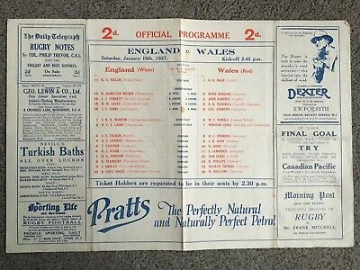 England V Wales Rugby International Programme 15 January 1927 Excellent