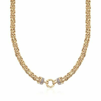 """18"""" Natural Diamond Accent Unique Byzantine Chain Necklace Real 14K Yellow Gold"""