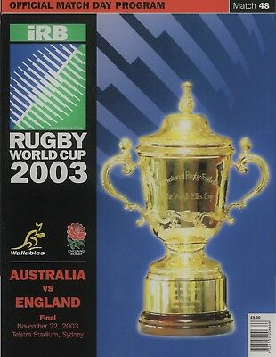 Rugby World Cup Final 2003 Australia V England Programme Fridge Magnet