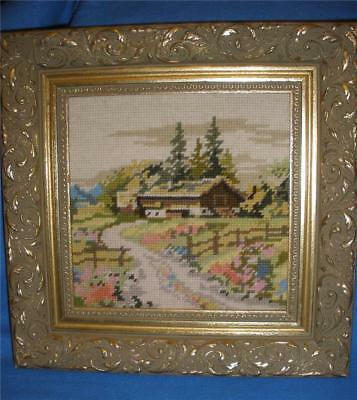 Stunning Hand Worked Framed  Tapestry  Homestead With Fence