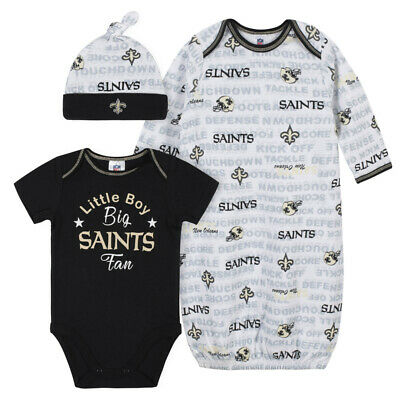 New Orleans Saints Baby Onesie Gown & Hat Set 3 Pk - Gerber NFL Newborn 3-6m