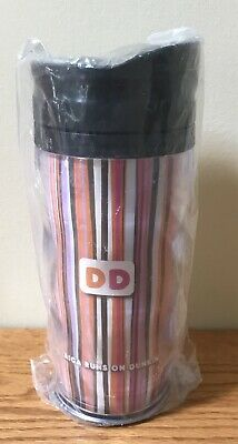 Dunkin Donuts Coffee Tea Whirley Plastic Travel Tumbler Mug NEW Striped