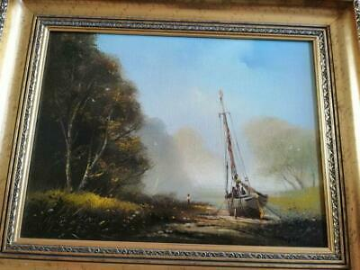 Ted Dyer Oil On Canvas - Fishing Boat Moored In A Tidal River