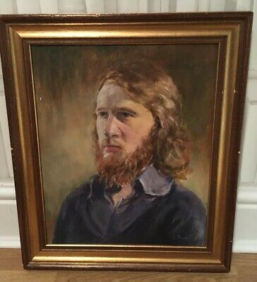 Charming Vintage Mid Century Oil Painting Male Portrait Signed Bloomsbury Style
