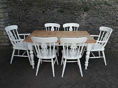 Shabby Chic Solid Pine 5ft Farmhouse Kitchen Dining Table