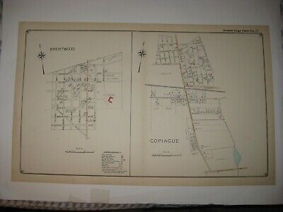 Antique 1915 Brentwood Copiague Suffolk County New York Handcolored Dated Map Nr