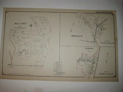 Antique 1917 East Northport Melville Commack New York Handcolored Dated Map Fine