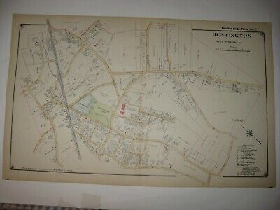 ANTIQUE 1917 HUNTINGTON town EAST AREA NEW YORK HANDCOLORED DATED MAP SUPERB NR