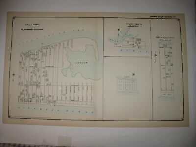 Antique 1917 Saltaire Gilgo Beach Fire Island New York Handcolored Dated Map Nr