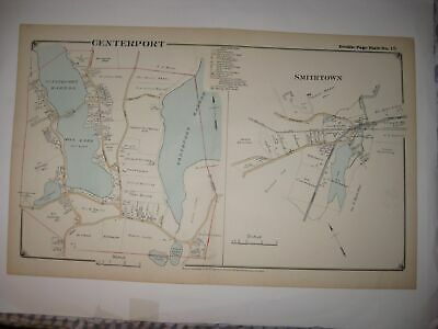 Antique 1917 Centerport Smithtown Suffolk County New York Handcolored Dated Map