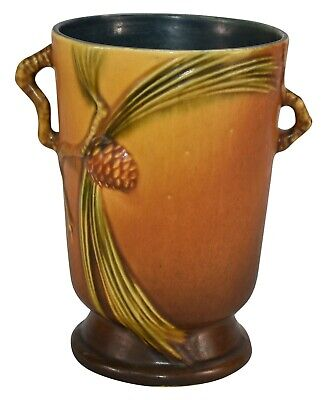 Roseville Pottery Pine Cone Brown Ceramic Handled Vase 704-7