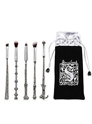 NEW 5pc METAL Harry Potter Wizard Makeup Brush Set  New