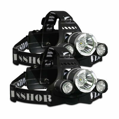 2X WEISSHORN LED Headlamp Rechargeable Head Torch Light 14000LM CREE XML T6 Camp