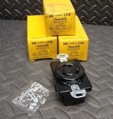 3 Lot NEW Hubbell 2310 2 Pole 3 Wire Receptacle 20 Amp Twist Lock 20A 125 Volt